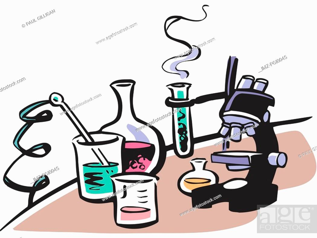 Stock Photo: A display of lab equipments.