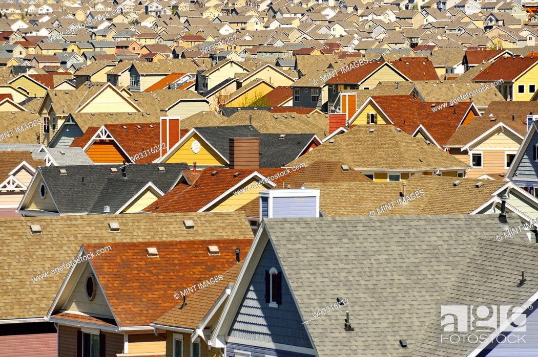 Stock Photo: Rooftops in suburban development, Colorado Springs, Colorado, United States.