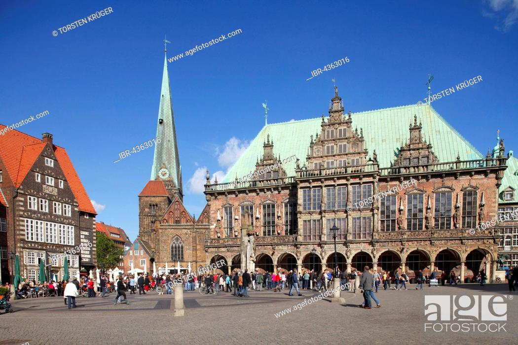 Stock Photo: Old Town Hall and Market Place, Bremen, Germany.