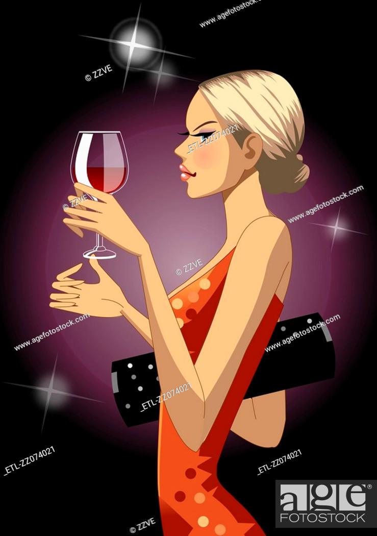 Stock Photo: Profile of woman holding wine glass.