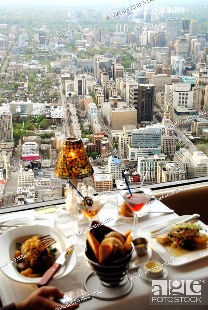 Stock Photo: Lunch at the CN Tower 360 Restaurant, Toronto, Ontario, Canada.