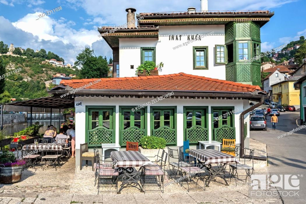 Stock Photo: traditional Bosnian restaurant Inat kuca (House of Spite), Old Town of Sarajevo.