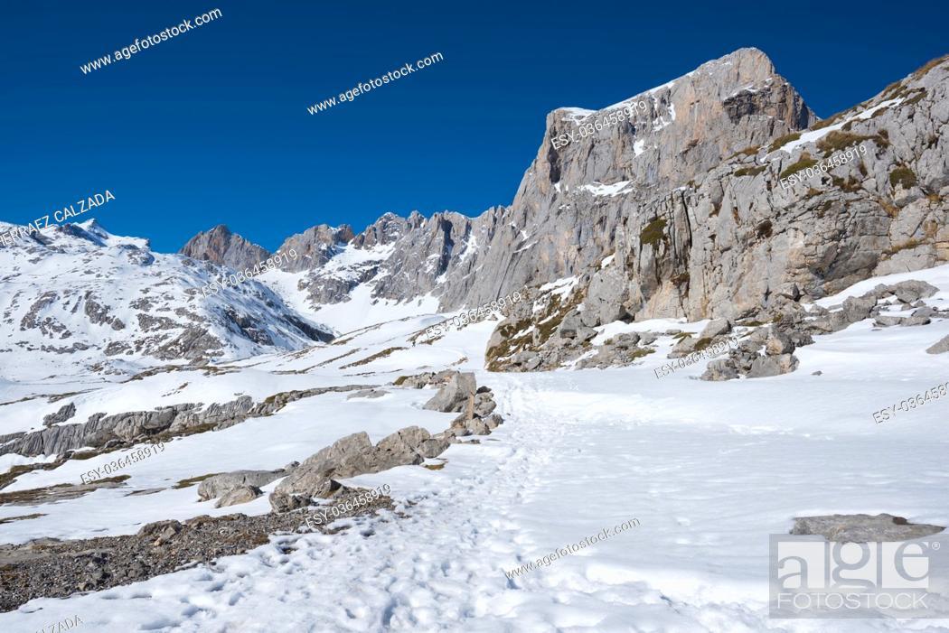 Stock Photo: Winter Landscape in Picos de Europa mountains, Cantabria, Spain.
