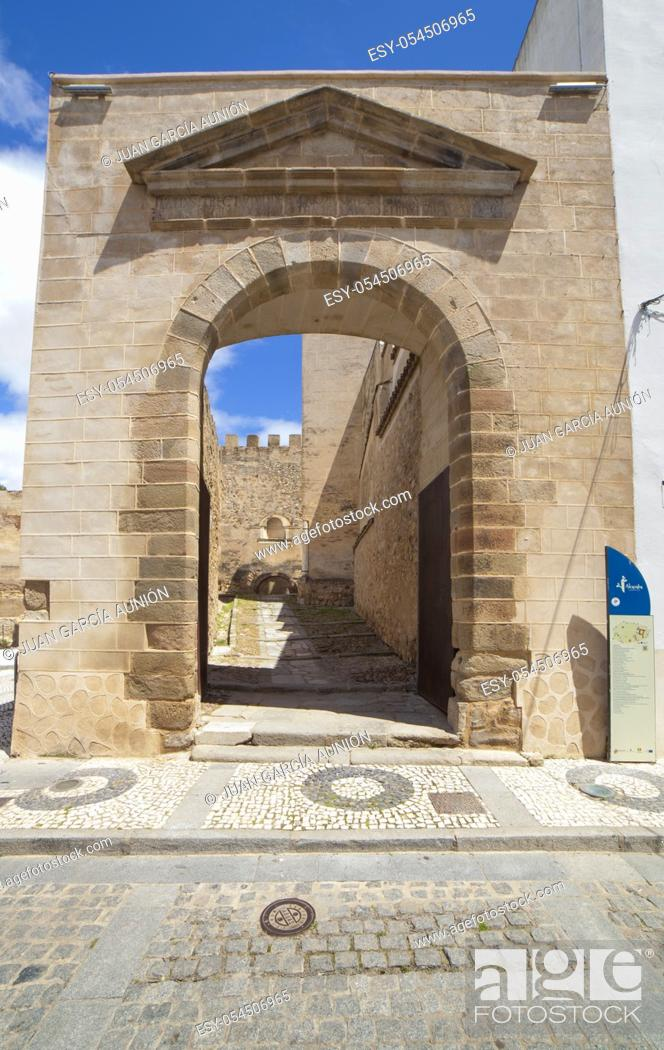 Stock Photo: Capital Gate at Badajoz Alcazaba, Extremadura, Spain. San Jose Square exit.