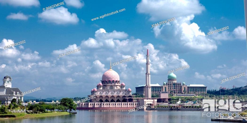 Stock Photo: Malaysia, Putrajaya, Putra Lake, Pink Mosque.