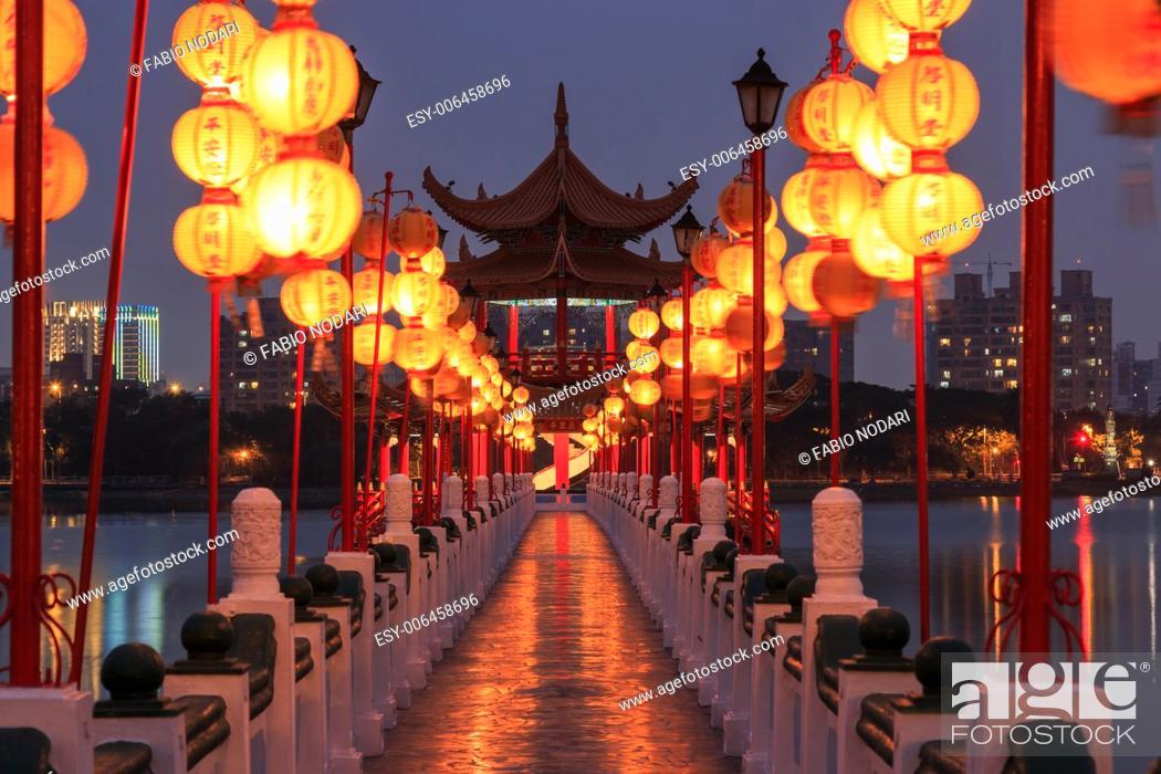 Stock Photo: Spring and Autumn Pavilions, Lotus Pond, Kahosiung.