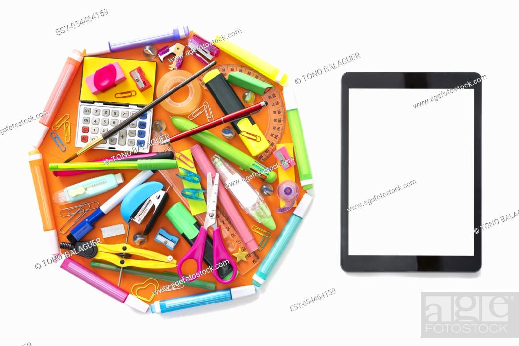 Stock Photo: E-learning online learning with tablet PC and school supplies isolated on white.