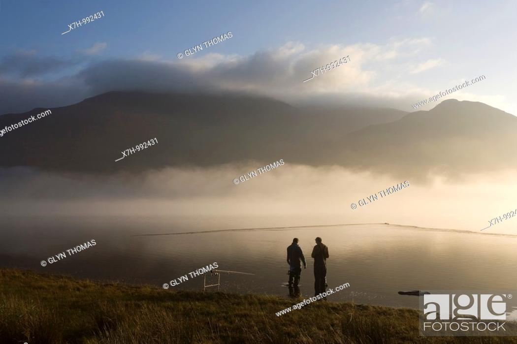 Stock Photo: Fishermen at Bassenthwaite Lake, Cumbria, England.