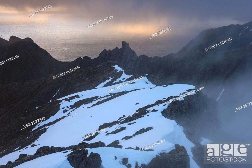 Stock Photo: Mountain landscapes from the summit of Hustind, Flakstadøy, Lofoten Islands, Norway.