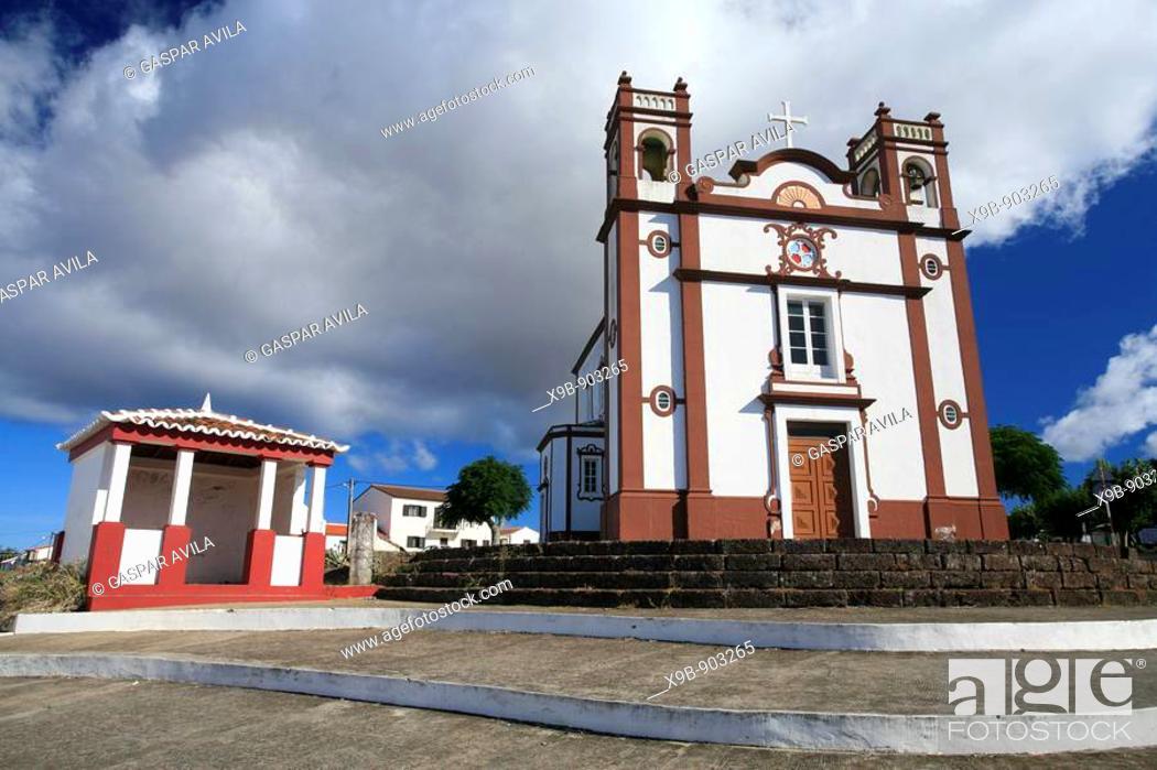 Stock Photo: The Santo Antao church, in the town of Vila do Porto  Santa Maria island, Azores, Portugal.