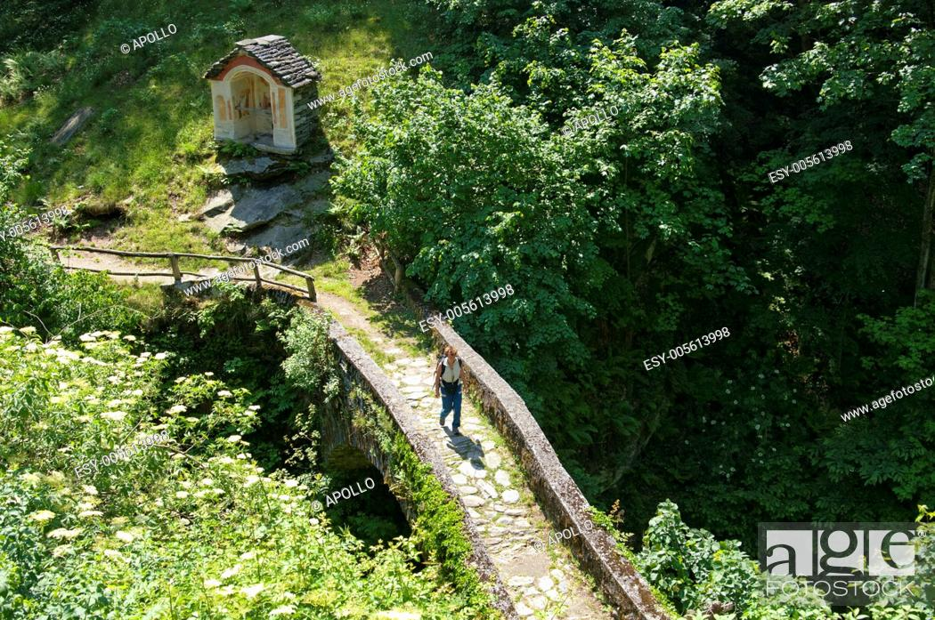 Stock Photo: A historic bridle path on a bridge with cobblestone pavement in the Verzasca valley near Corippo, Ticino, Switzerland.