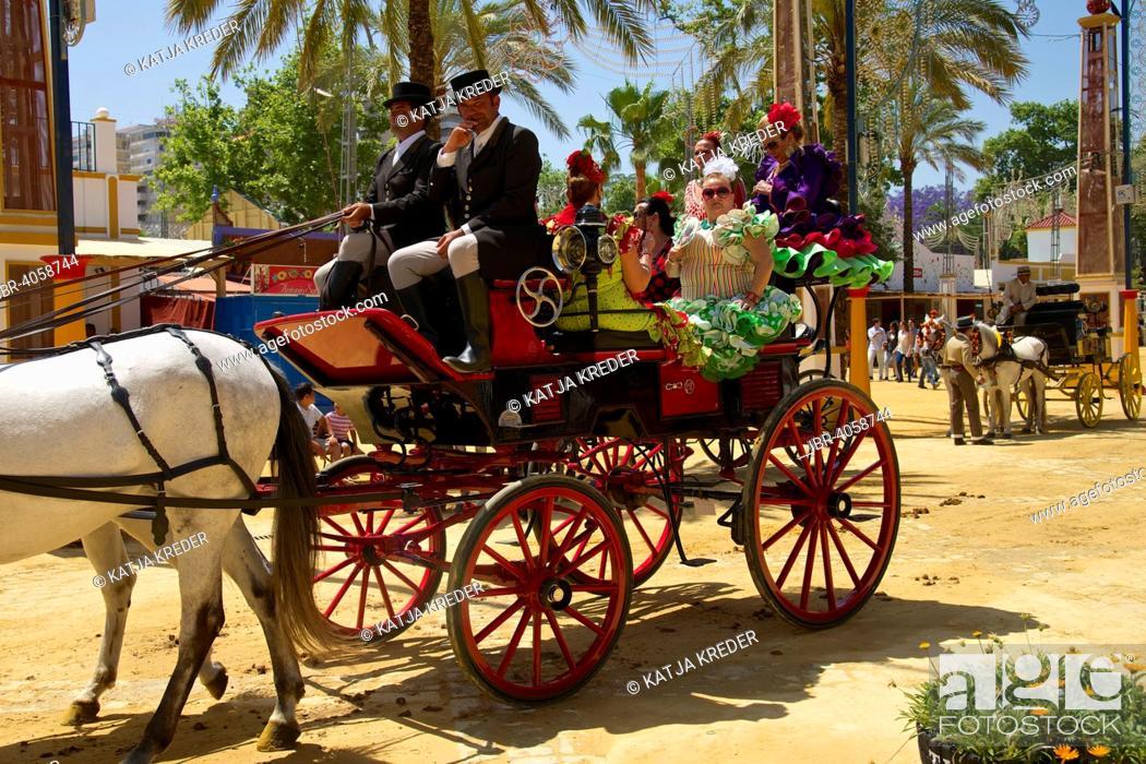 Stock Photo: Carriages at the Feria del Caballo, Jerez de la Frontera, Andalusia, Spain.