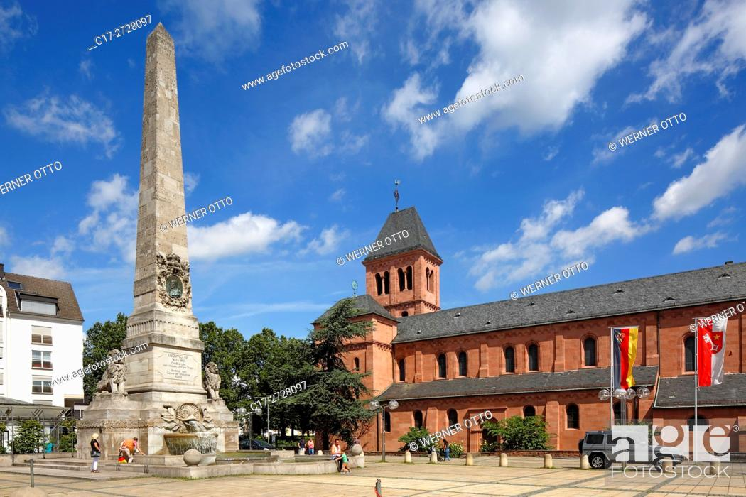 Stock Photo: Germany, Worms, Rhine, Upper Rhine, Rhenish Hesse, Rhine-Neckar area, Rhine-Main district, Rhineland-Palatinate, Ludwig Monument on the Ludwigsplatz in honour.