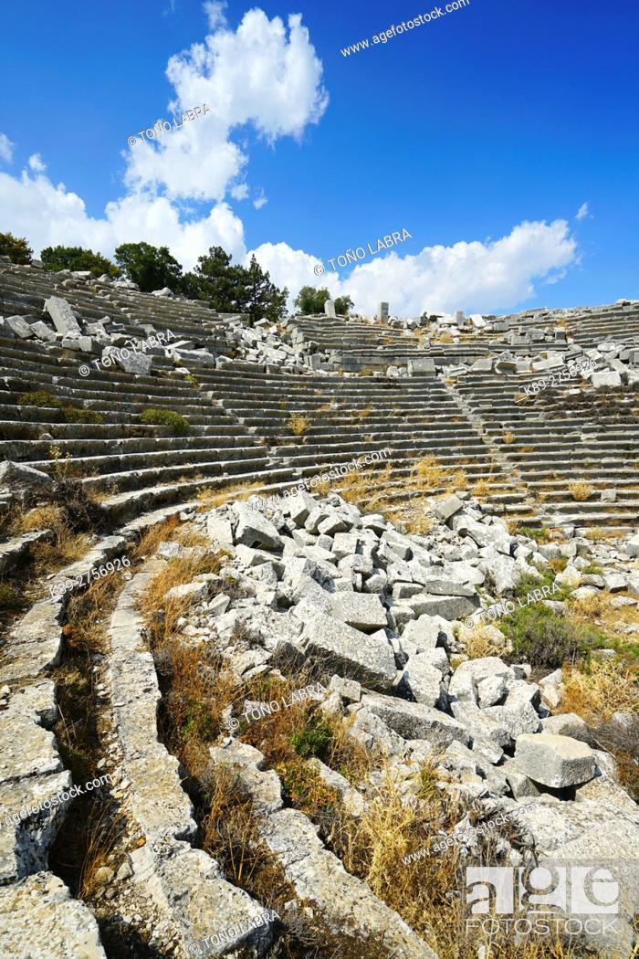 Stock Photo: Amphitheater of Termessos. The unexcavated Pisidian city. Ancient Greece. Asia Minor. Turkey.