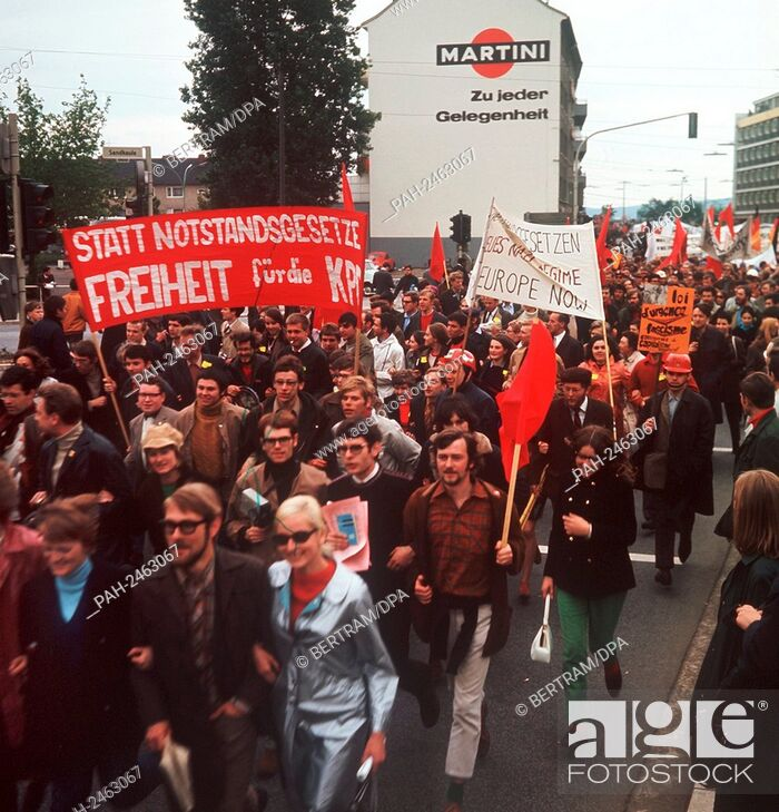 Stock Photo: Students protest against emergency laws in May 1968. - Bonn/Nordrhein-Westfalen/Germany.