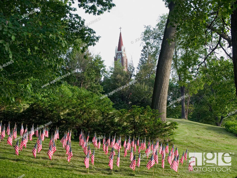 Stock Photo: American flags, each one representing an American soldier killed in Iraq, in Turners Falls, Massachusetts.