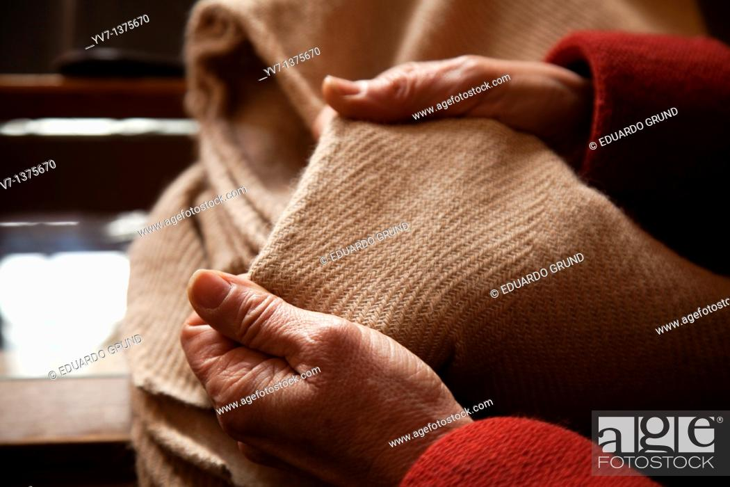 Stock Photo: Sample made by hand weaving loom in the Alpujarra, Granada, Andalusia, Spain.