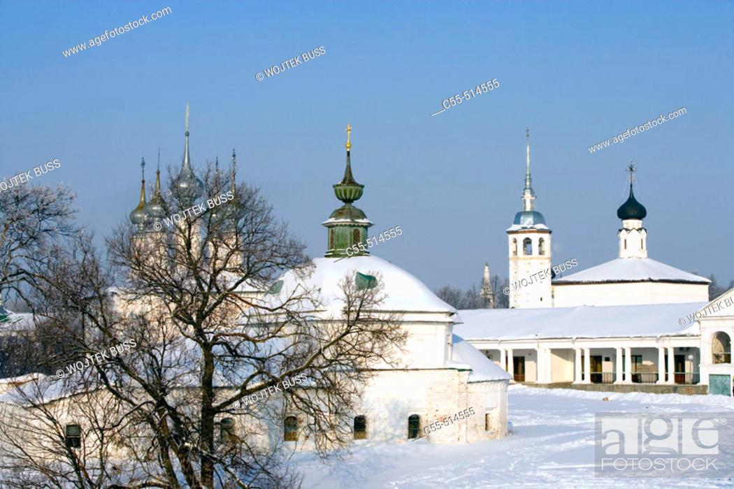 Stock Photo: Church of St. Parasceva Pyatnitsa, 1772, Church of the Entry into Jerusalem, 1707. Suzdal. Golden Ring, Russia.