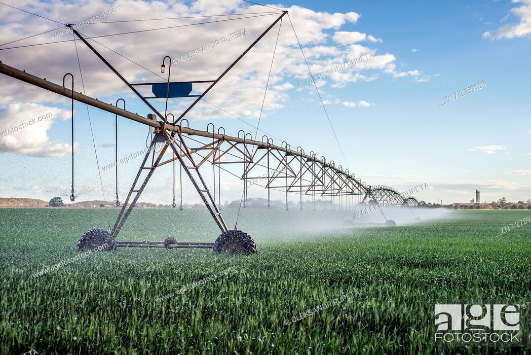 Stock Photo: Irrigation system in action at a farm near Lusaka, Zambia.