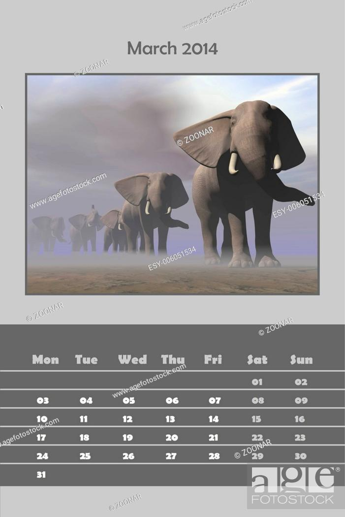 Stock Photo: Safari calendar for 2014 - march.