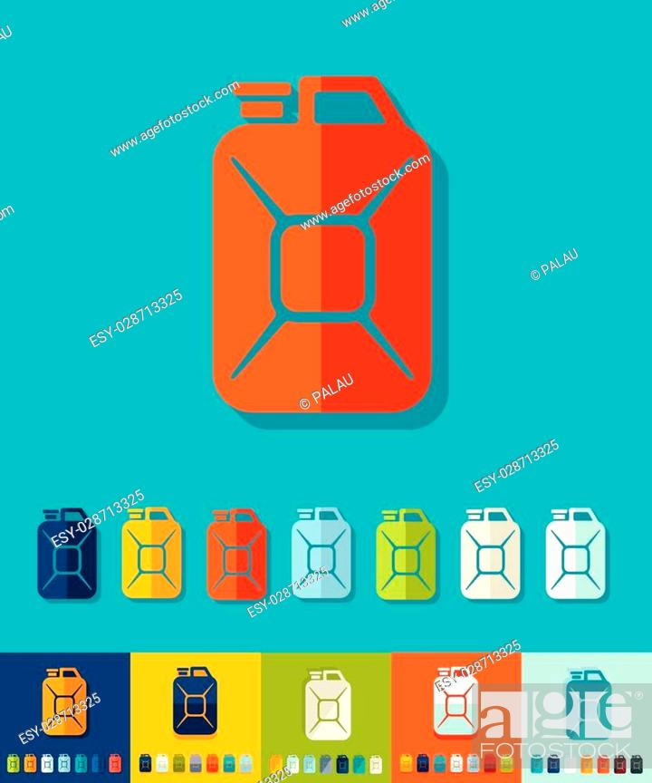 Stock Vector: jerrycan icon in flat design with long shadows.