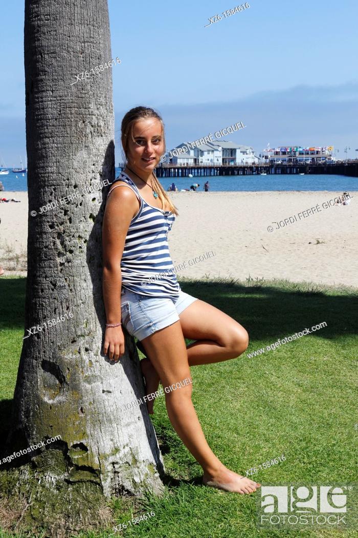 Stock Photo: Teenage girl at Santa Barbara beach, Santa Barbara, California, USA.