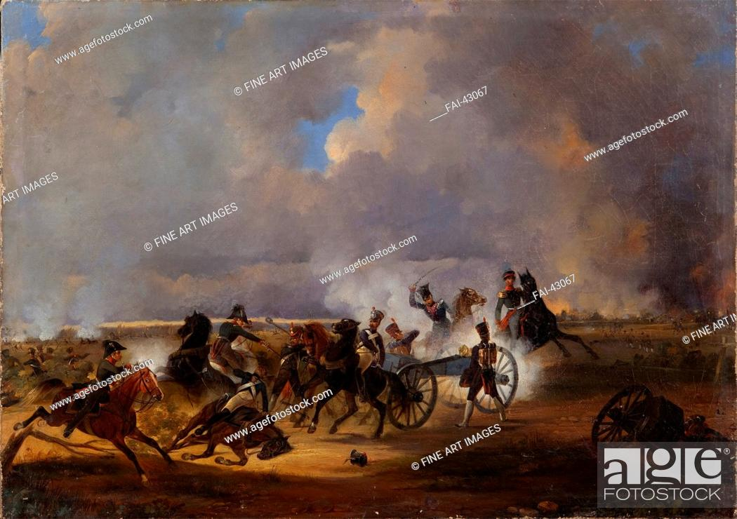 Stock Photo: The Battle of Koenigswartha on May 19, 1813 by Kotzebue, Alexander von (1815-1889)/Oil on canvas/History painting/1840/Russia/State History Museum.