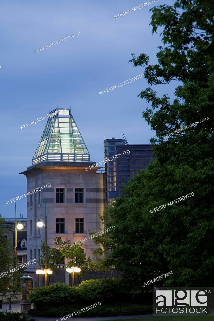 Stock Photo: The United States of America (US) embassy building through Major's Hill park at dusk in Ottawa, Ontario, Canada.