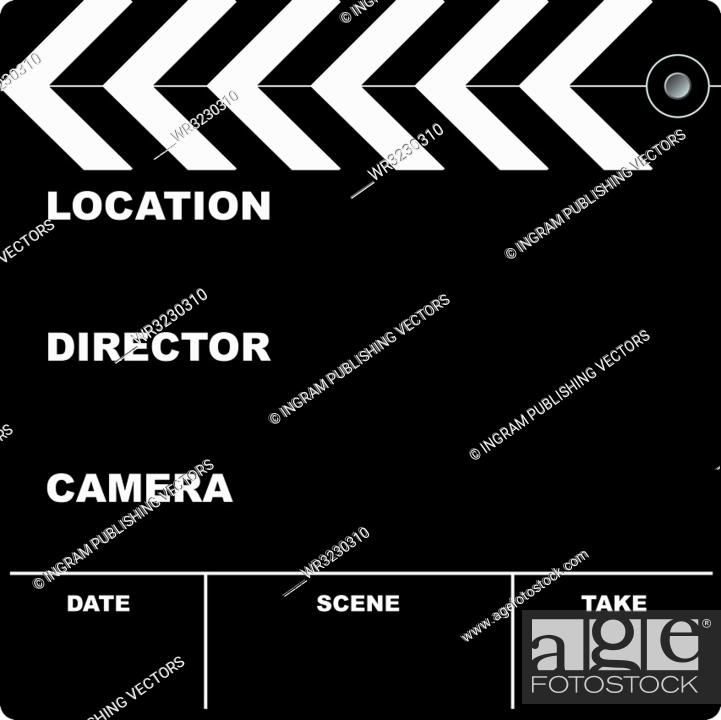 Stock Vector: Flim clapper board with space to put your own text.