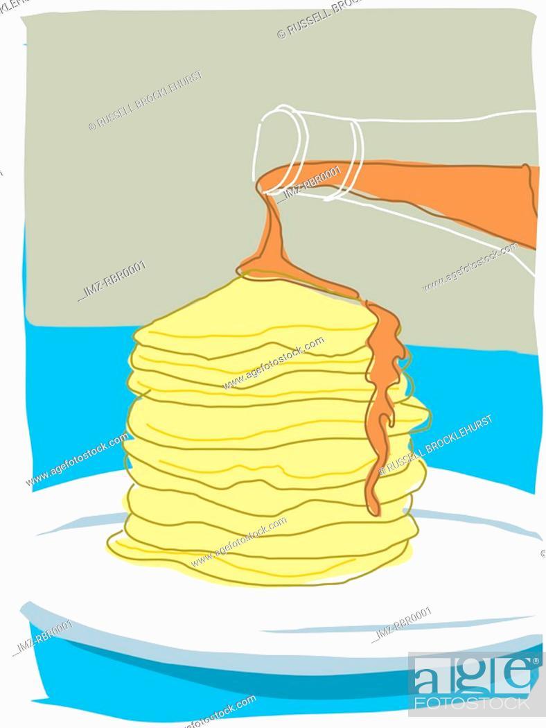 Stock Photo: pancake and syrup.