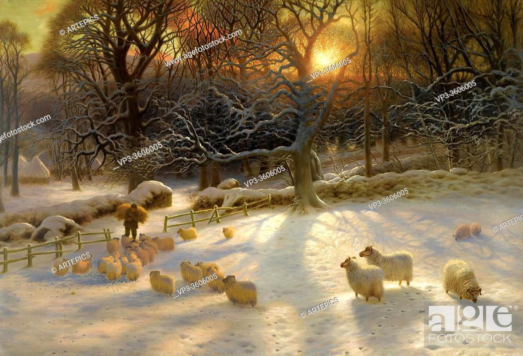 Stock Photo: Farquharson Joseph - Winter Landscape (Beneath the Snow Encumbered Branches) - British School - 19th Century.