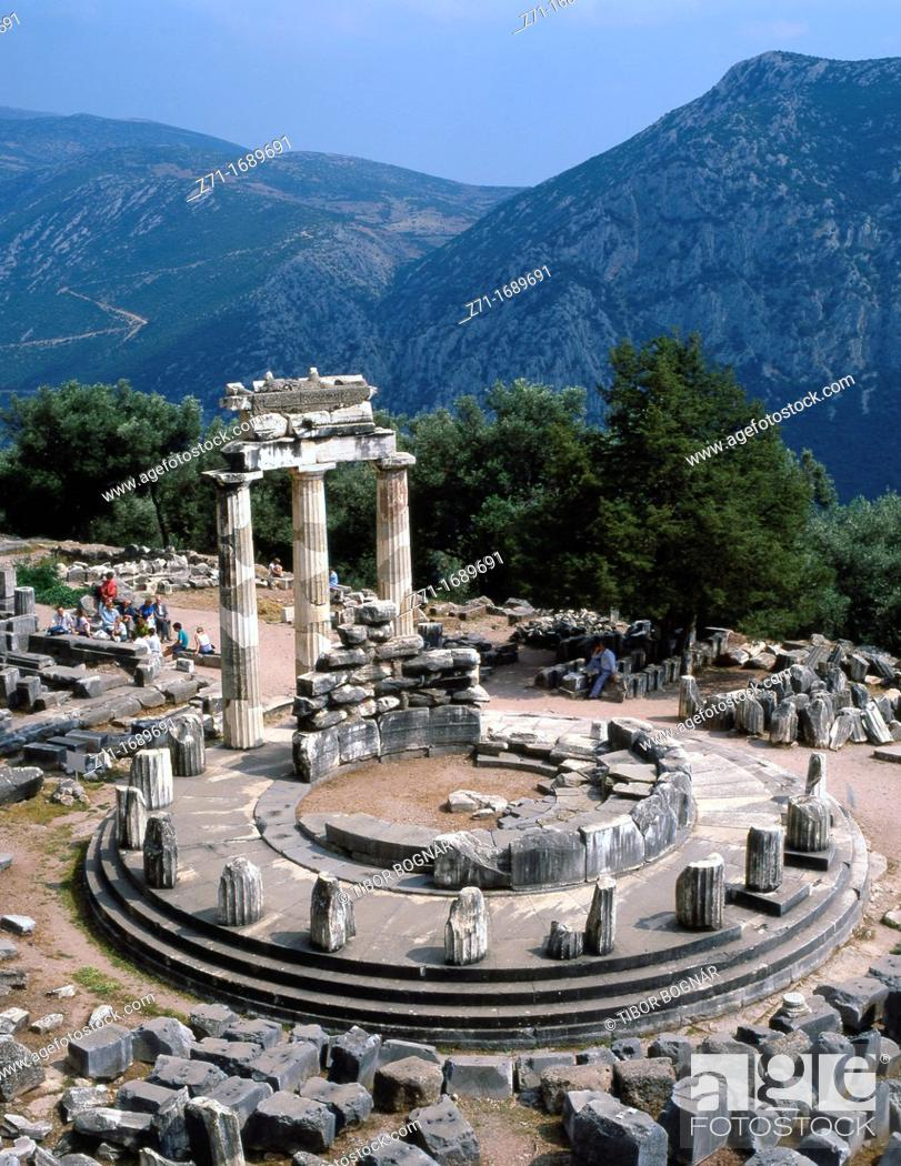 Stock Photo: Greece Delphi Sanctuary of Athena Pronaia.