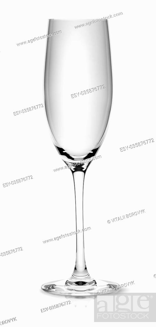 Stock Photo: Empty champagne glass isolated on white background.