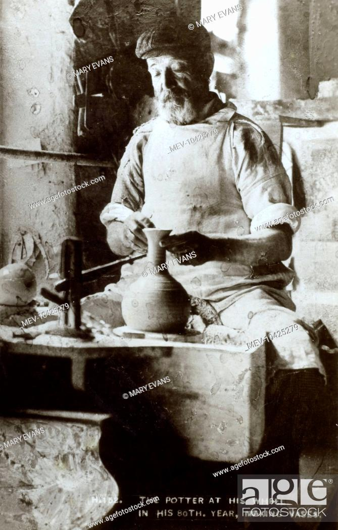 Potter At His Wheel In His 80th Year Making Vases Stock Photo
