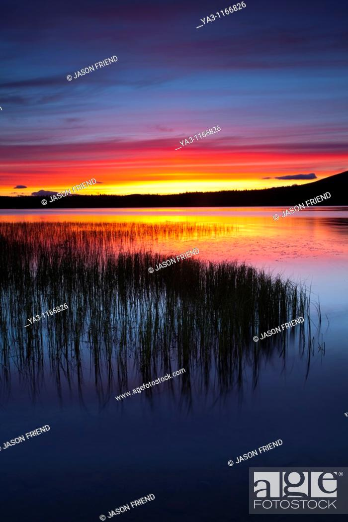 Stock Photo: Scotland, Scottish Highlands, Cairngorms National Park  Summer sunset over Loch Morlich near Aviemore.