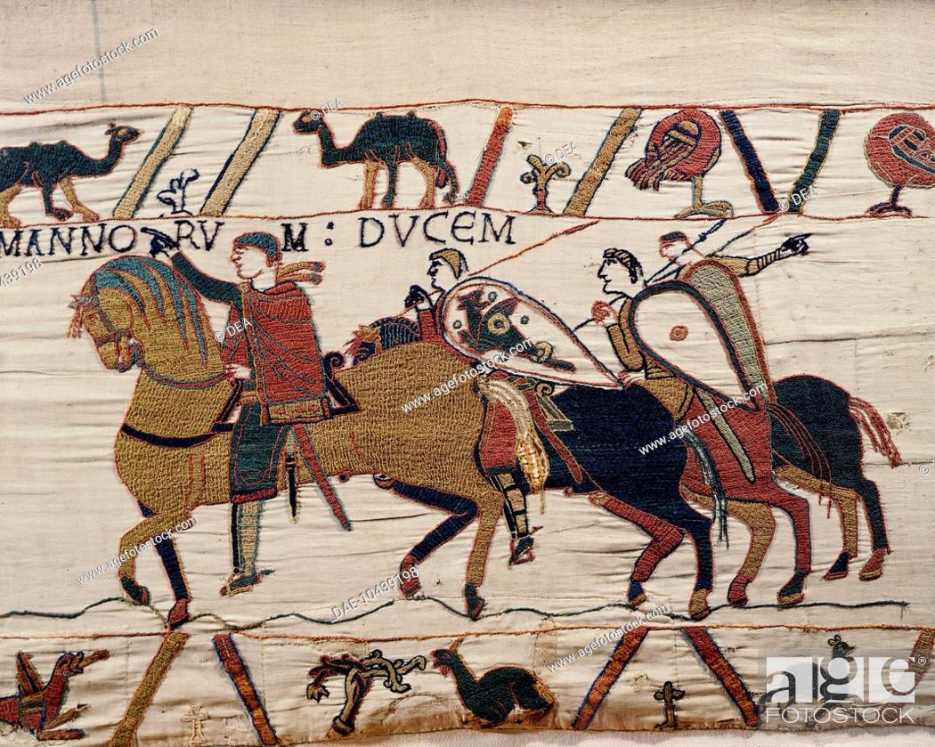 Stock Photo: William the Conqueror and his escorts on horseback, detail of Queen Mathilda's Tapestry or Bayeux Tapestry, France, 11th century.