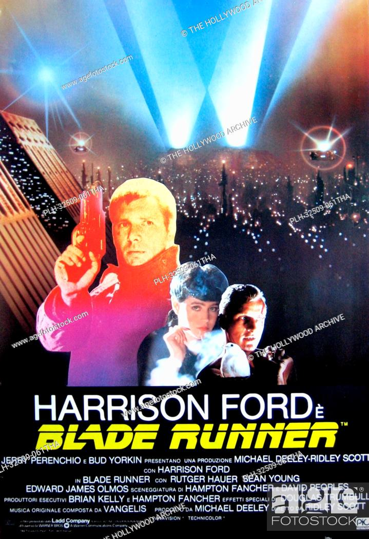 Stock Photo: Blade Runner - Italian Poster 1982 Warner Bros. Harrison Ford, Rutger Hauer, Sean Young.