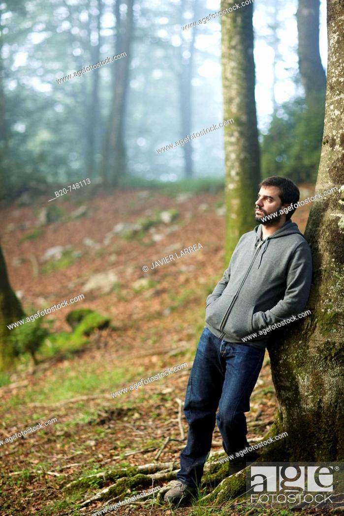 Stock Photo: 25 year old man. Belate, Baztan, Navarra.