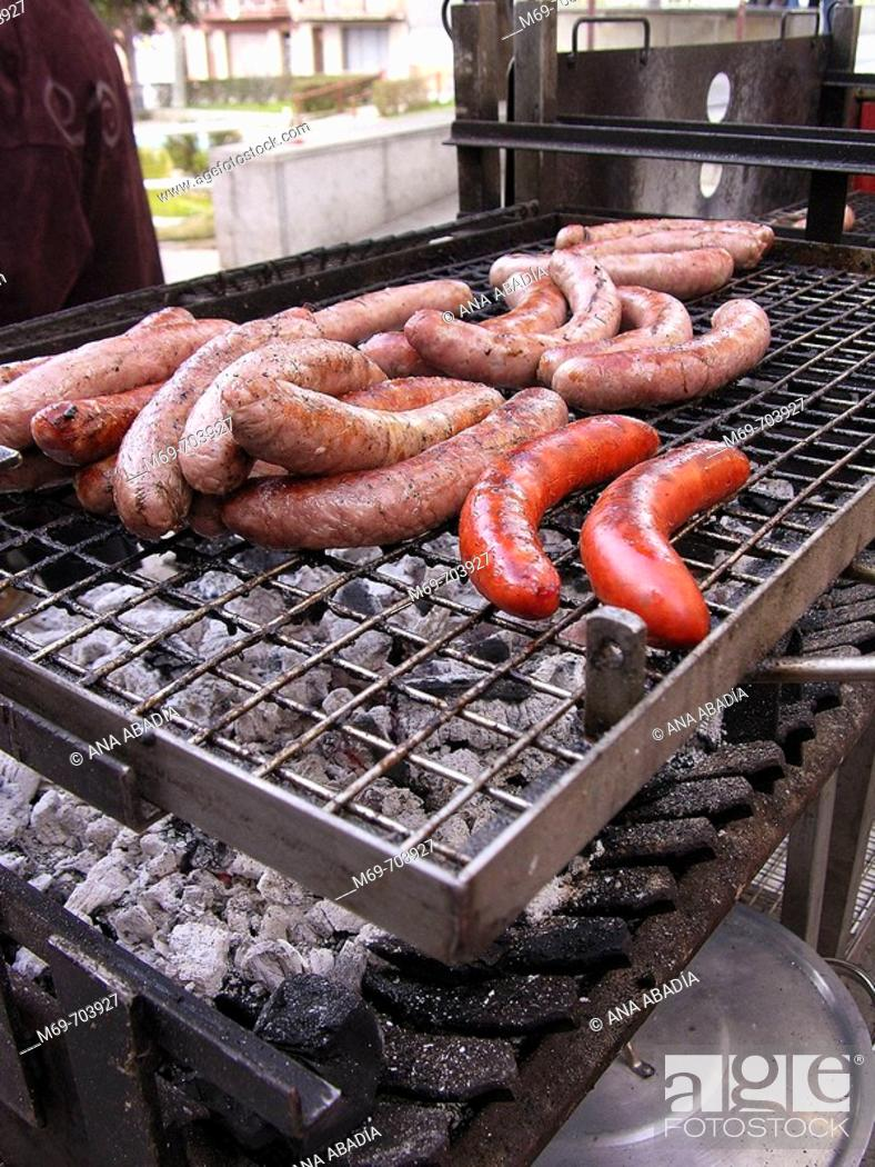 Stock Photo: Grilled sausages.