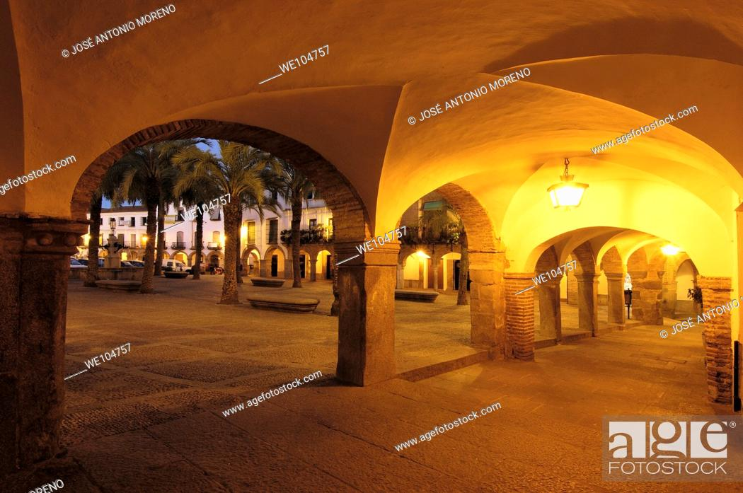 Stock Photo: Plaza Grande at dusk, Zafra, Badajoz province, Extremadura, Spain.