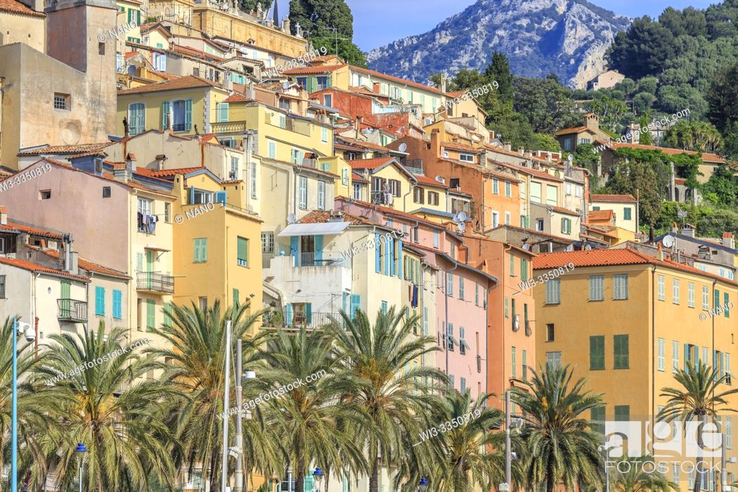 Stock Photo: France, Alpes Maritimes, Menton, colourful houses facade in the old city.