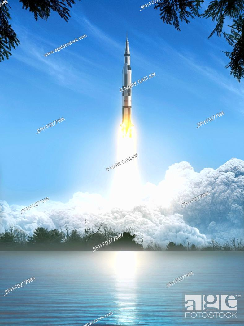 Stock Photo: Saturn 5 rocket during launch, illustration.