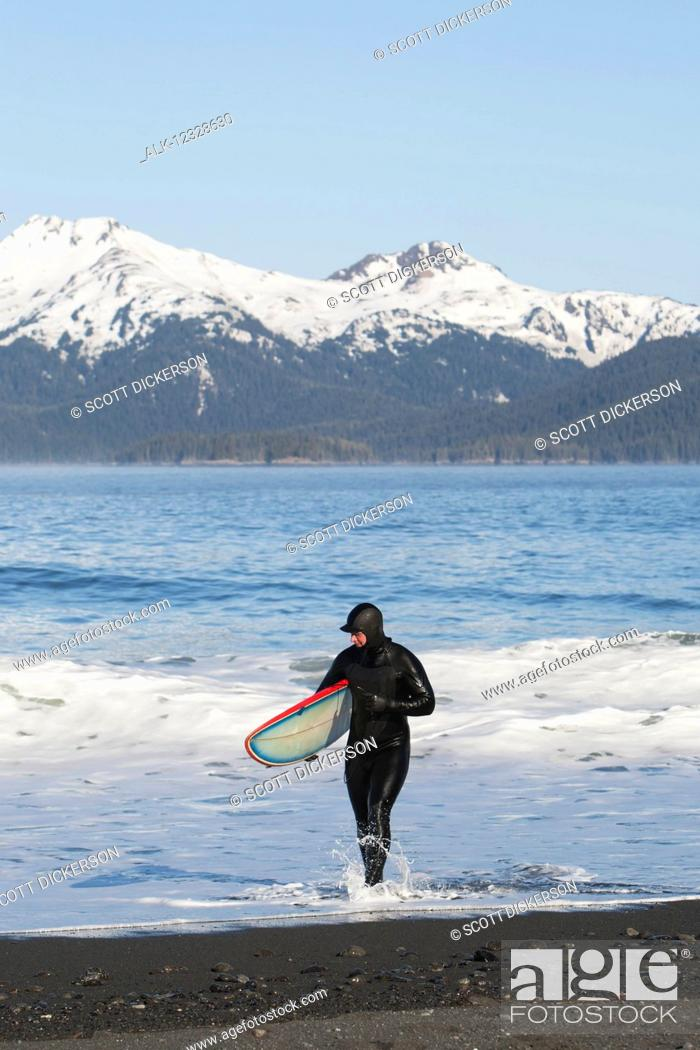 Photo de stock: Surfer walking in the water on the Kenai Peninsula Outer Coast, South-central Alaska; Alaska, United States of America.
