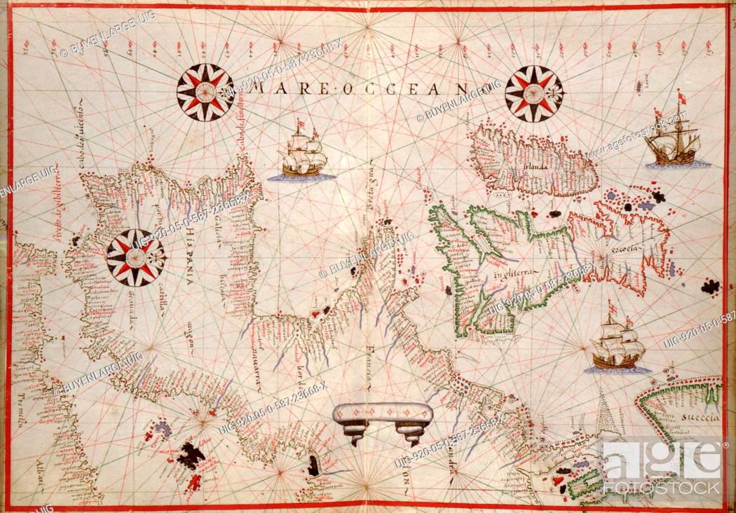 Map Of France England And Spain.Portolan Map Of Spain England Ireland France 1590 Stock Photo