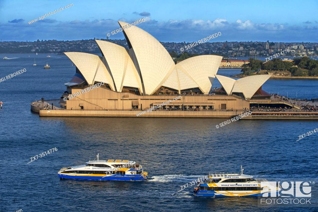 Stock Photo: Sydney Opera House and public ferry and whale watching boats, Sydney, New South Wales, Australia.