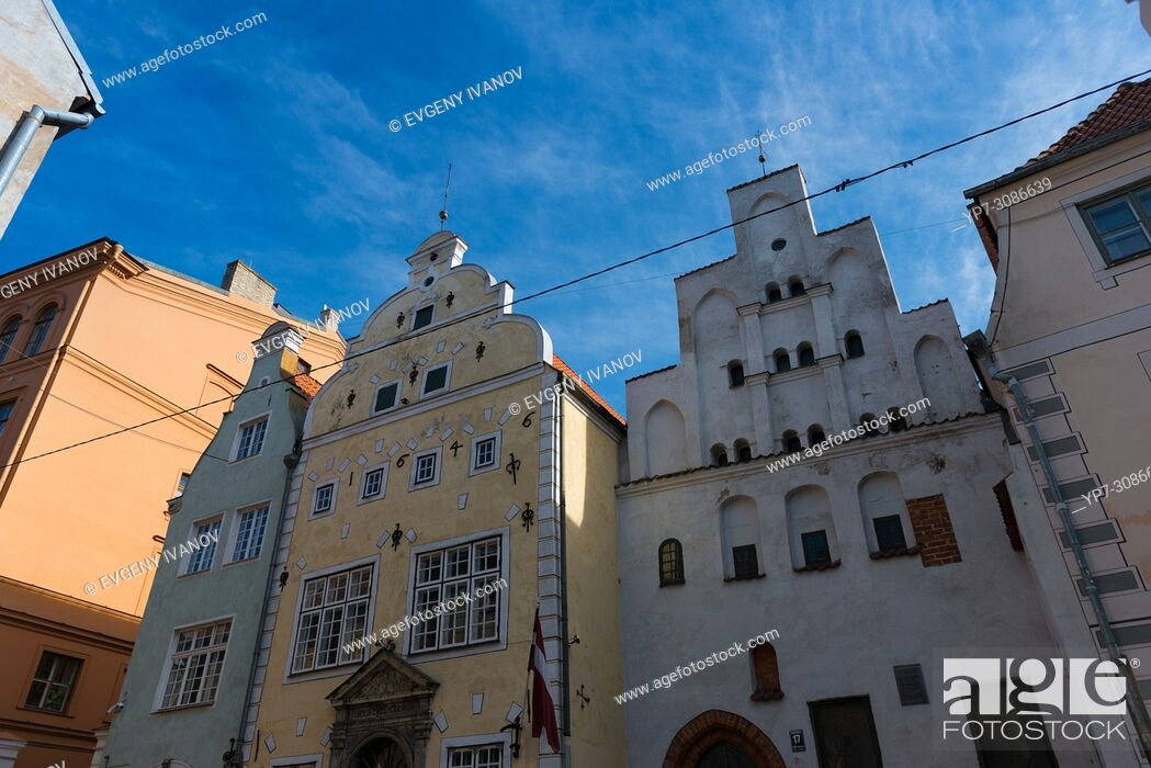 Stock Photo: The oldest buildings in old town of Riga, the three brothers, Riga, Latvia.