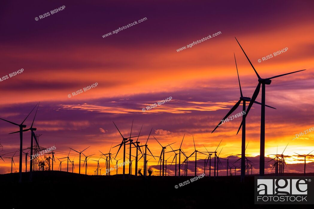 Stock Photo: Silhouetted wind turbines at sunset, Mojave, California USA.