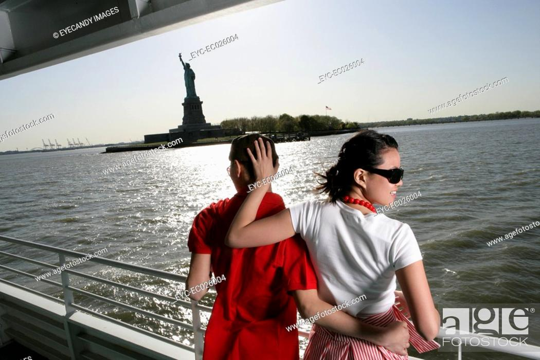 Stock Photo: Young couple aboard a ferry in the Hudson River.