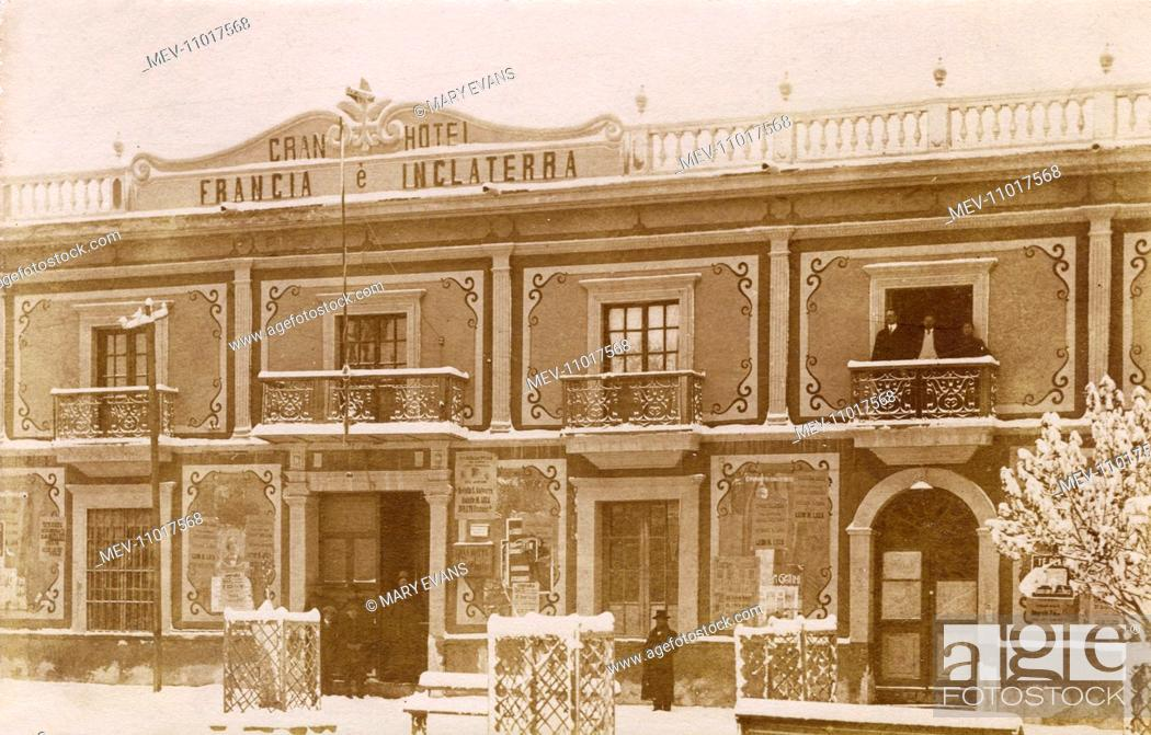 Stock Photo: Gran Hotel Francia e Inglaterra in the main city square of Oruro, Bolivia, South America, during a period of cold weather, with snow in evidence.