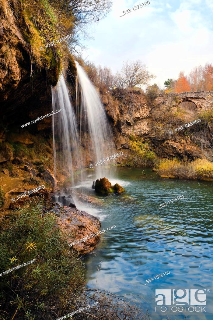 Stock Photo: The San Pedro waterfull in the Cabriel river  Montes Universales  El Vallecillo  Teruel  Aragón  Spain.
